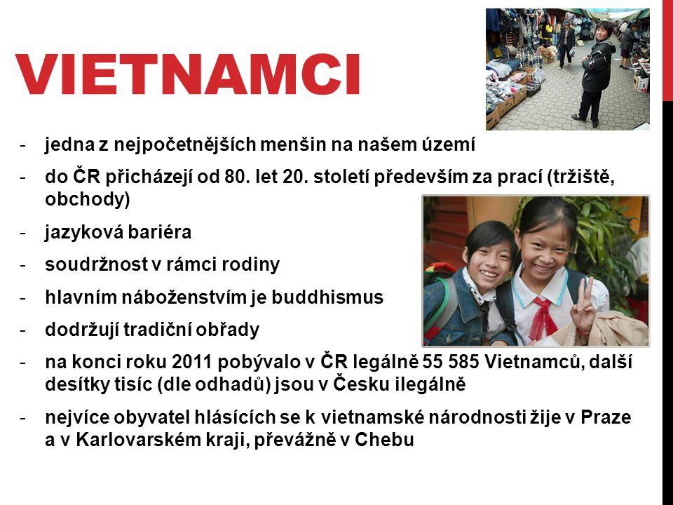 VIETNAMCI -jedna z nejpočetnějších menšin na našem území -do ČR přicházejí od 80. let 20. století především za prací (tržiště, obchody) -jazyková bari