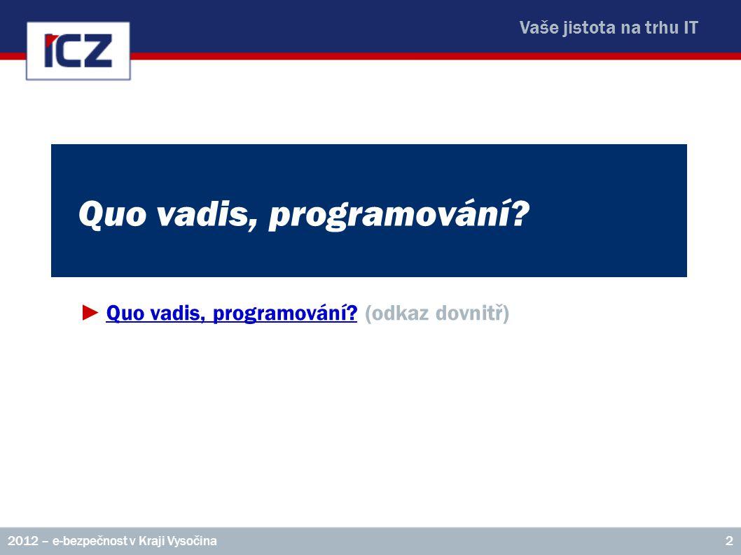 Vaše jistota na trhu IT Quo vadis, programování? ►Quo vadis, programování? (odkaz dovnitř)Quo vadis, programování? 22012 – e-bezpečnost v Kraji Vysoči
