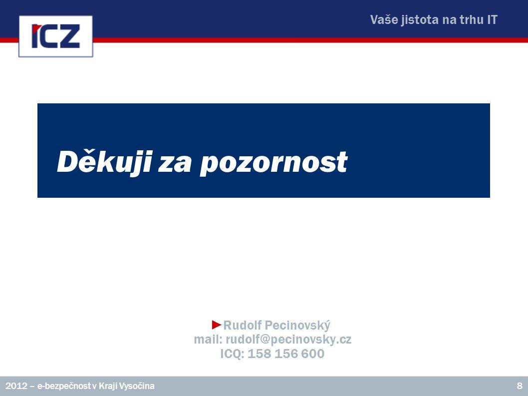 Vaše jistota na trhu IT Děkuji za pozornost ►Rudolf Pecinovský mail: rudolf@pecinovsky.cz ICQ: 158 156 600 2012 – e-bezpečnost v Kraji Vysočina8