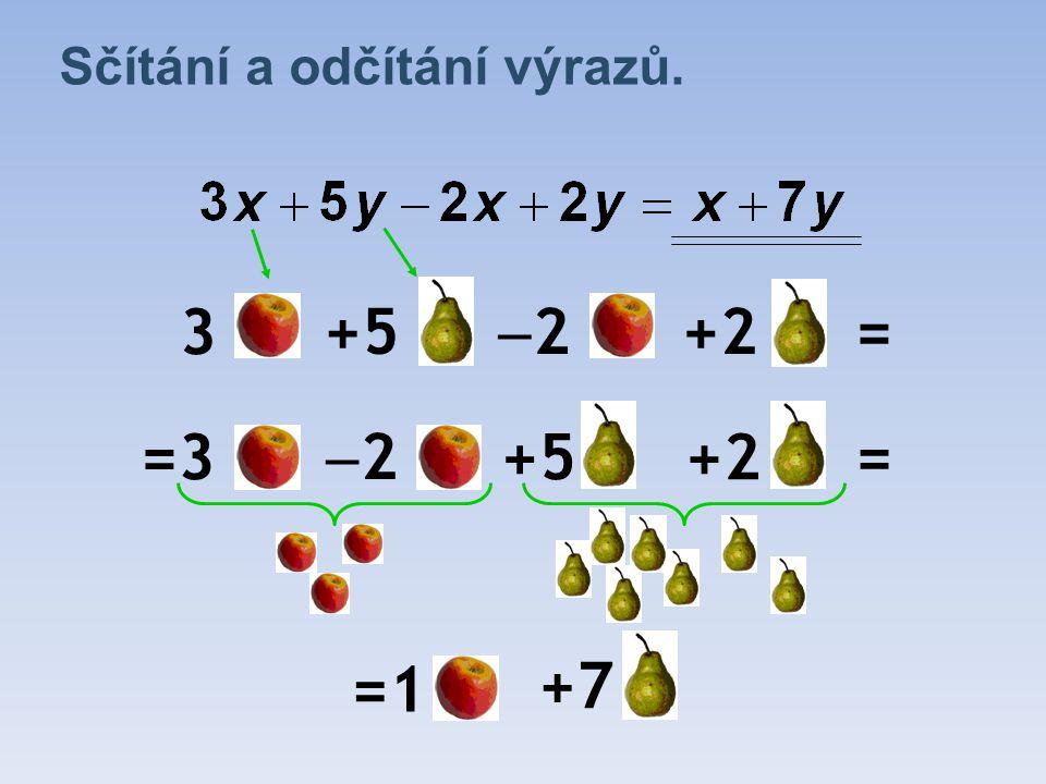 Sčítání a odčítání výrazů. 3 +5 22 +2= =3 22 +5+2 = =1 +7