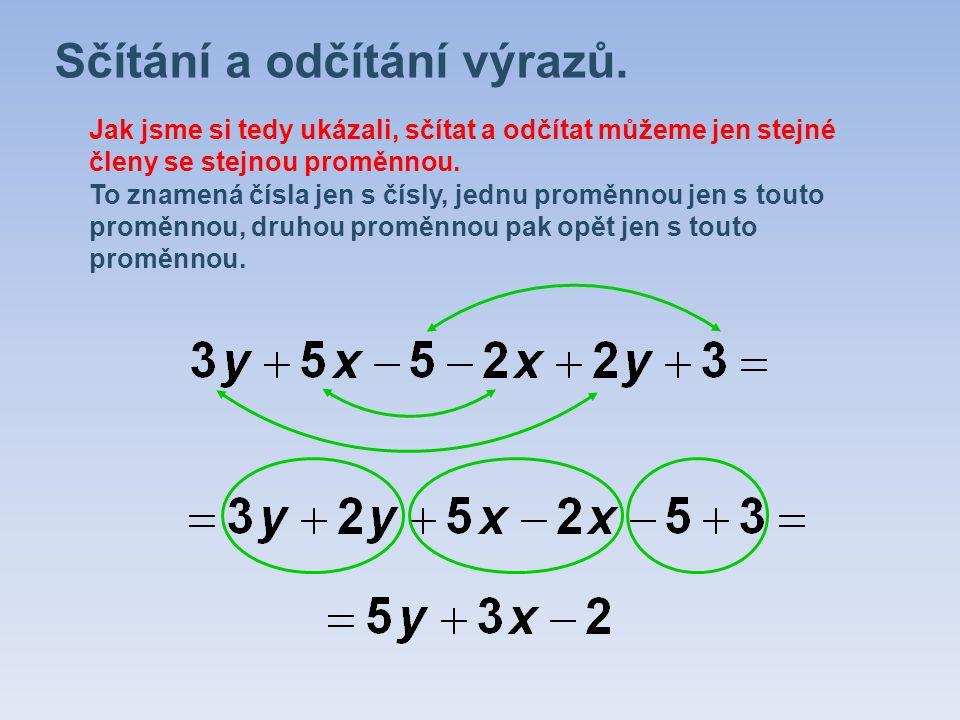 Sčítání a odčítání výrazů. Jak jsme si tedy ukázali, sčítat a odčítat můžeme jen stejné členy se stejnou proměnnou. To znamená čísla jen s čísly, jedn