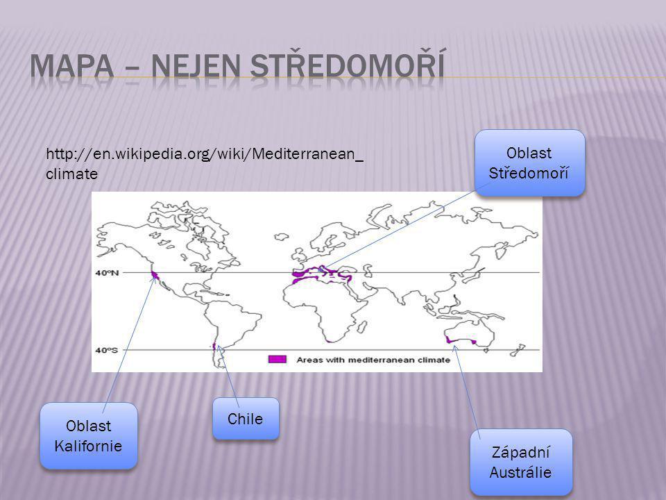  Teplá suchá léta  Maximum srážek v zimním období 1000mm/rok  Průměrná teplota 15 – 20 °C http://www.blueplanetbiomes.org/chaparral.