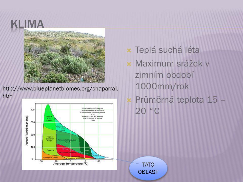  Teplá suchá léta  Maximum srážek v zimním období 1000mm/rok  Průměrná teplota 15 – 20 °C http://www.blueplanetbiomes.org/chaparral. htm TATO OBLAS