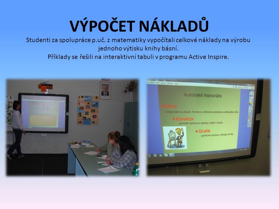 VÝPOČET NÁKLADŮ Studenti za spolupráce p.uč.