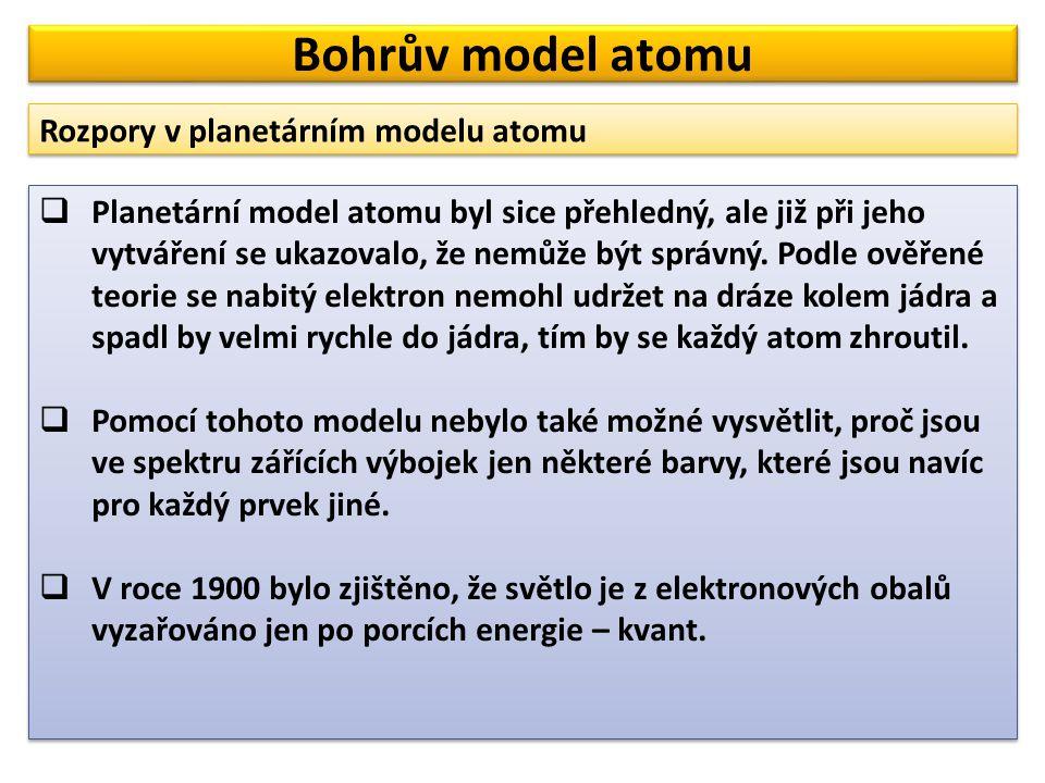  Planetární model atomu byl sice přehledný, ale již při jeho vytváření se ukazovalo, že nemůže být správný. Podle ověřené teorie se nabitý elektron n