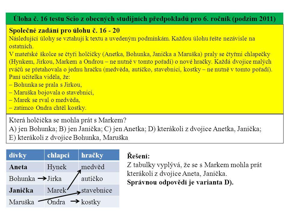 Úloha č. 16 testu Scio z obecných studijních předpokladů pro 6. ročník (podzim 2011) Která holčička se mohla prát s Markem? A) jen Bohunka; B) jen Jan