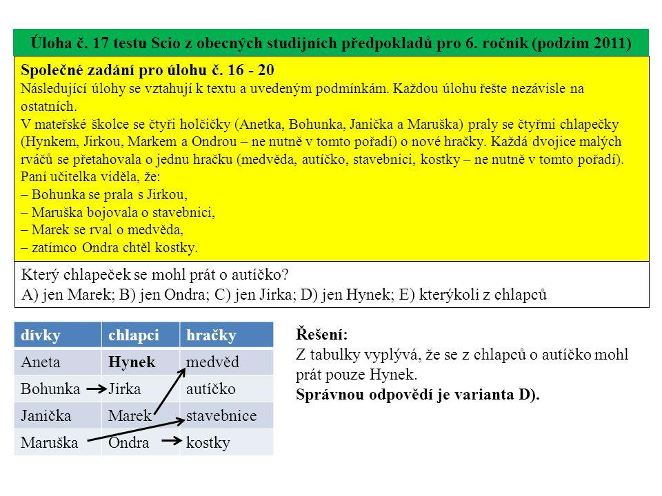 Úloha č. 17 testu Scio z obecných studijních předpokladů pro 6. ročník (podzim 2011) Který chlapeček se mohl prát o autíčko? A) jen Marek; B) jen Ondr