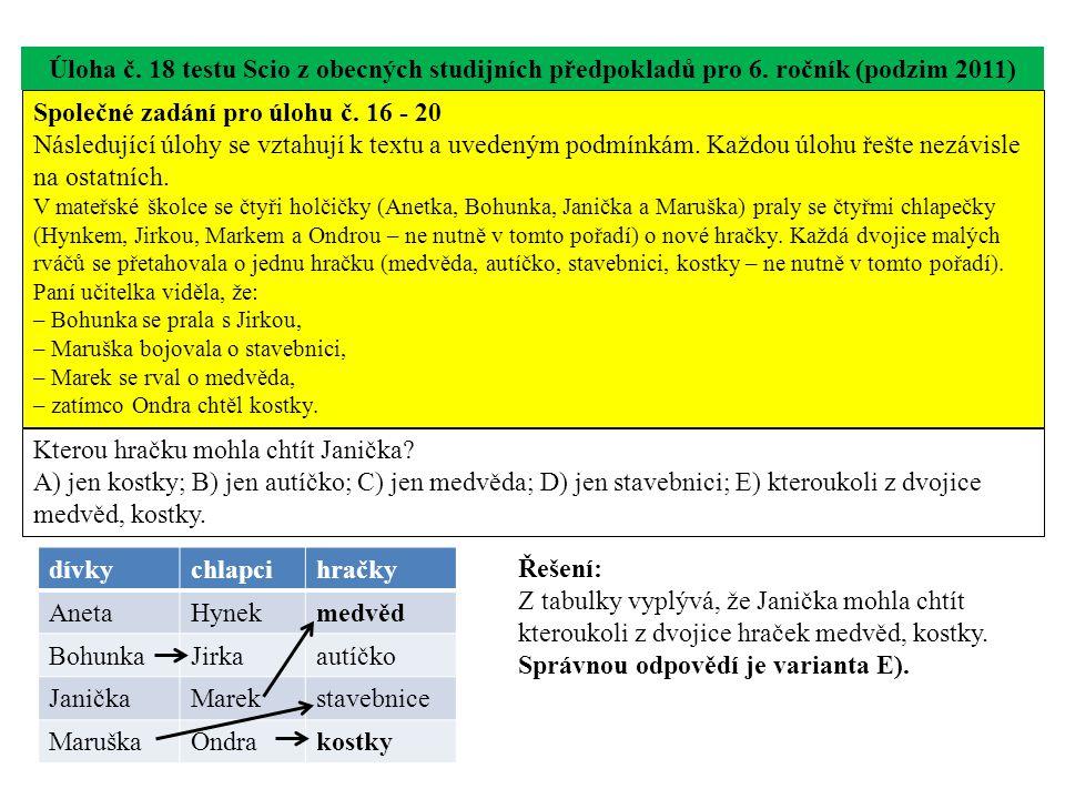 Úloha č. 18 testu Scio z obecných studijních předpokladů pro 6. ročník (podzim 2011) Kterou hračku mohla chtít Janička? A) jen kostky; B) jen autíčko;