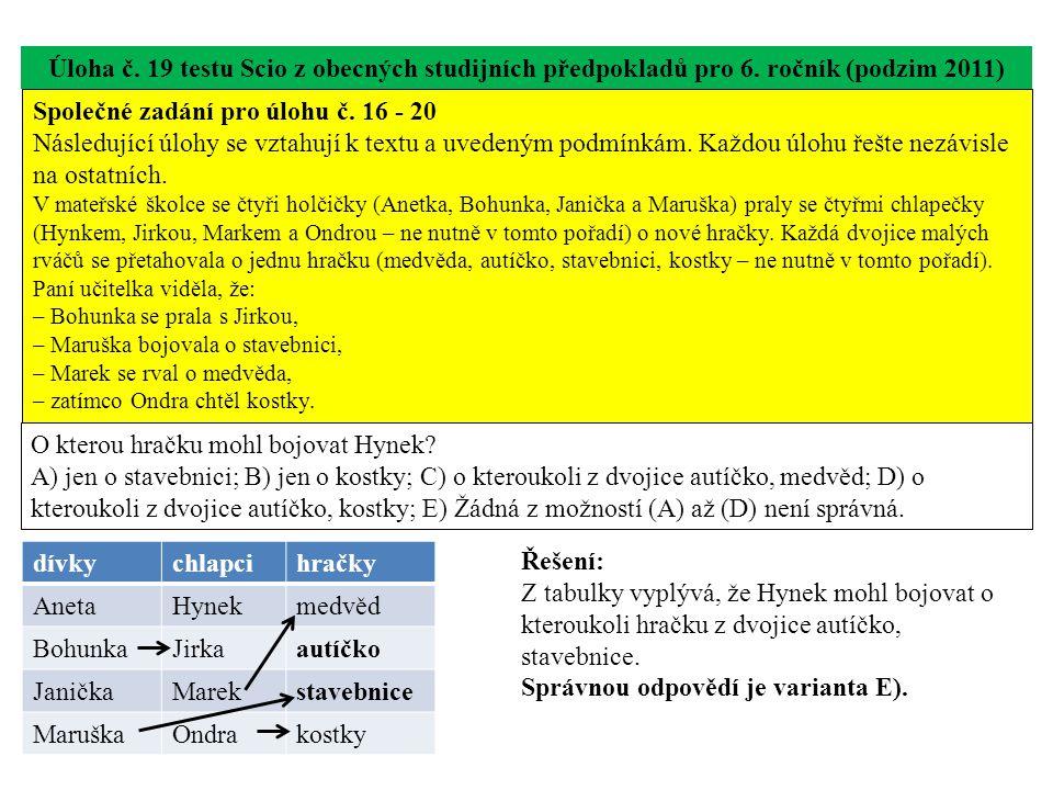 Úloha č. 19 testu Scio z obecných studijních předpokladů pro 6. ročník (podzim 2011) O kterou hračku mohl bojovat Hynek? A) jen o stavebnici; B) jen o