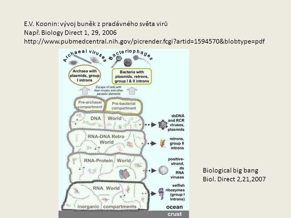 E.V. Koonin: vývoj buněk z pradávného světa virů Např. Biology Direct 1, 29, 2006 http://www.pubmedcentral.nih.gov/picrender.fcgi?artid=1594570&blobty