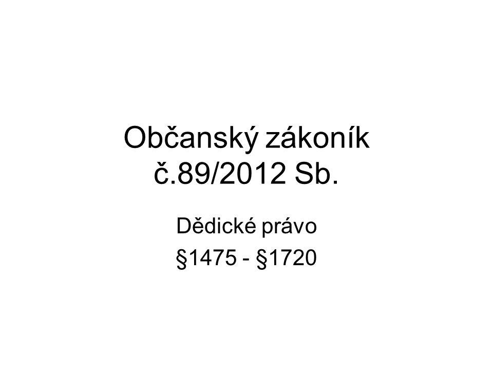 Občanský zákoník č.89/2012 Sb. Dědické právo §1475 - §1720