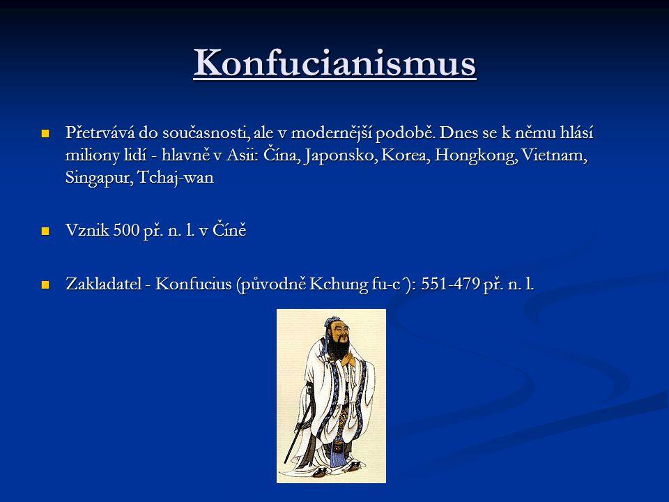 Konfucianismus Přetrvává do současnosti, ale v modernější podobě. Dnes se k němu hlásí miliony lidí - hlavně v Asii: Čína, Japonsko, Korea, Hongkong,
