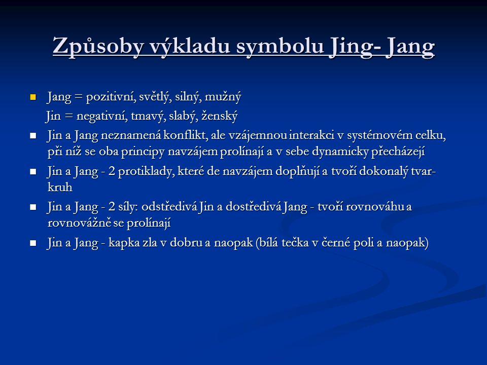Způsoby výkladu symbolu Jing- Jang Jang = pozitivní, světlý, silný, mužný Jang = pozitivní, světlý, silný, mužný Jin = negativní, tmavý, slabý, ženský
