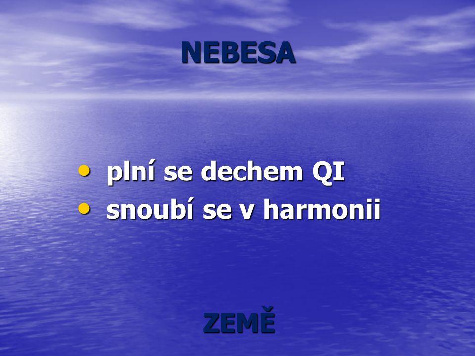 NEBESA plní se dechem QI plní se dechem QI snoubí se v harmonii snoubí se v harmonii ZEMĚ ZEMĚ