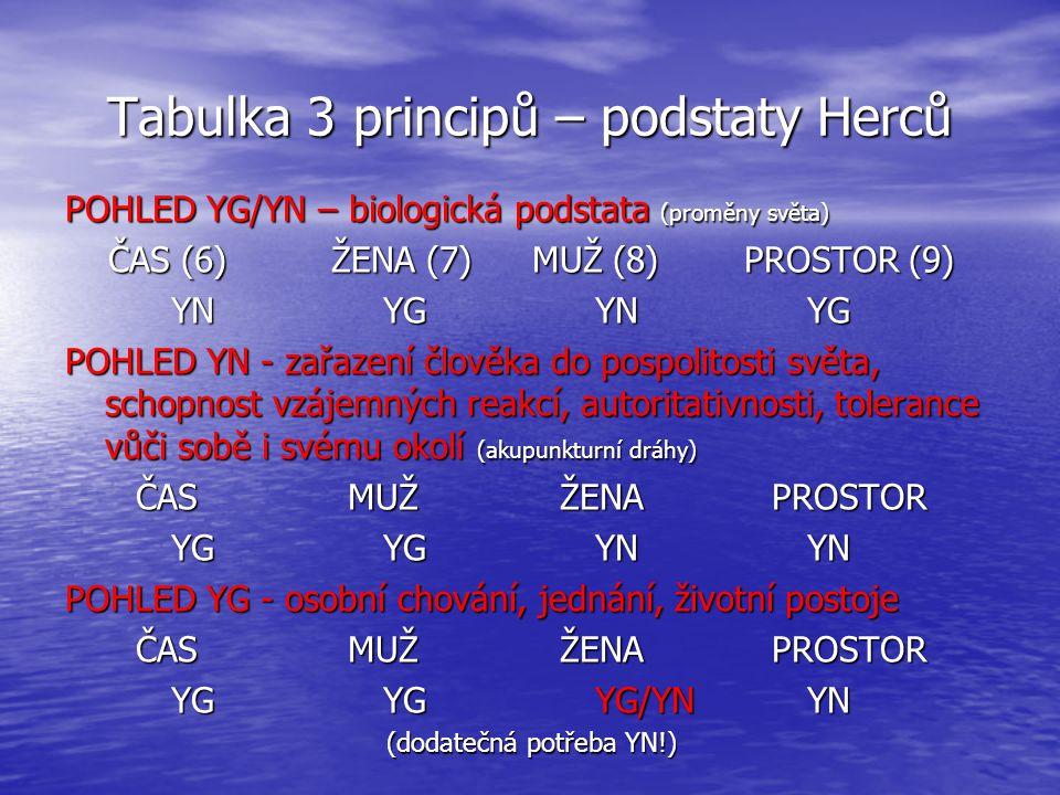 Tabulka 3 principů – podstaty Herců POHLED YG/YN – biologická podstata (proměny světa) ČAS (6) ŽENA (7)MUŽ (8)PROSTOR (9) YNYGYNYG POHLED YN - zařazen