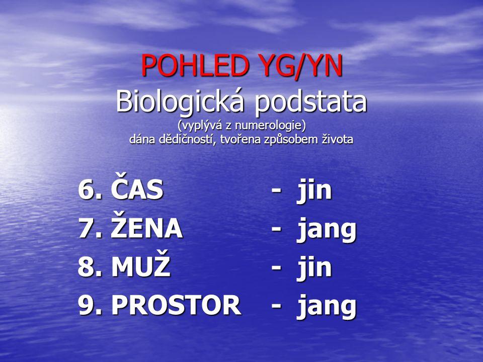 POHLED YG/YN Biologická podstata (vyplývá z numerologie) dána dědičností, tvořena způsobem života 6. ČAS - jin 7. ŽENA- jang 8. MUŽ- jin 9. PROSTOR- j