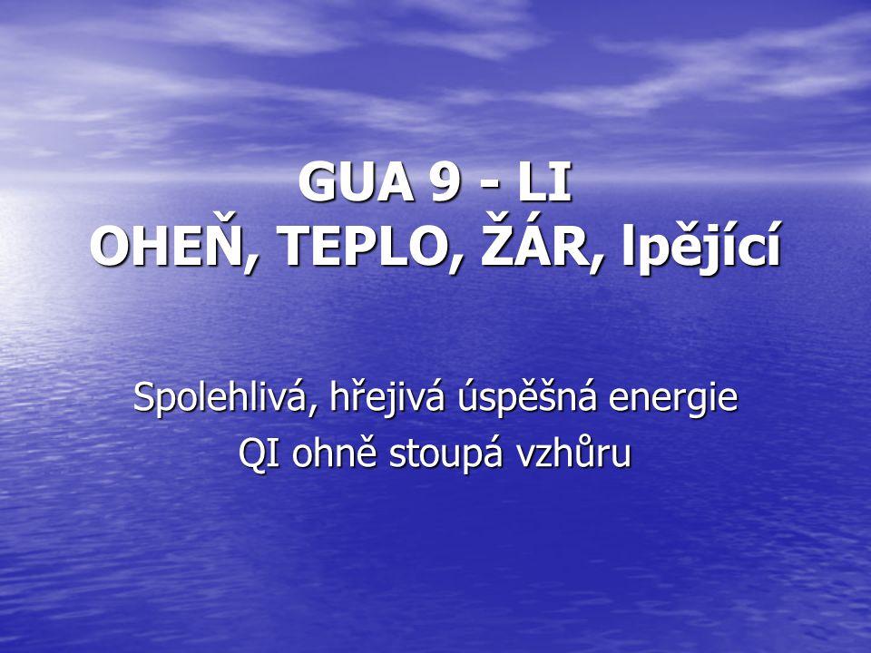 GUA 9 - LI OHEŇ, TEPLO, ŽÁR, lpějící Spolehlivá, hřejivá úspěšná energie QI ohně stoupá vzhůru