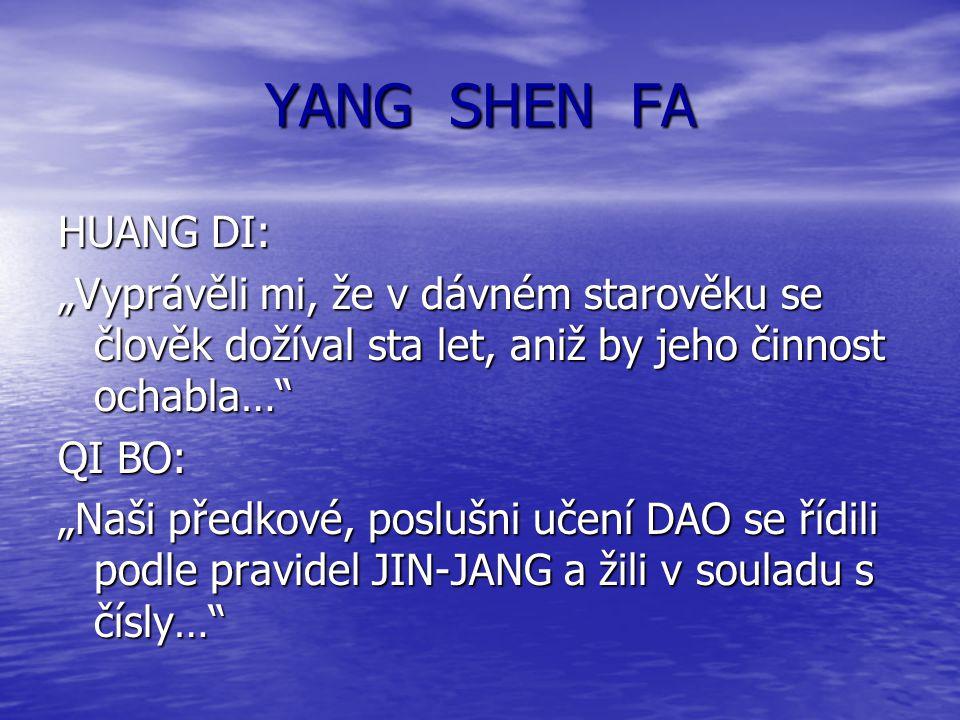 """YANG SHEN FA HUANG DI: """"Vyprávěli mi, že v dávném starověku se člověk dožíval sta let, aniž by jeho činnost ochabla…"""" QI BO: """"Naši předkové, poslušni"""