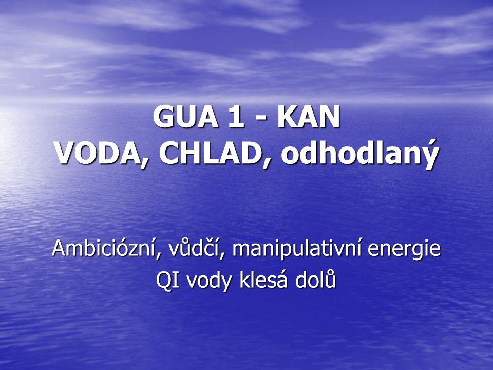 GUA 1 - KAN VODA, CHLAD, odhodlaný Ambiciózní, vůdčí, manipulativní energie QI vody klesá dolů