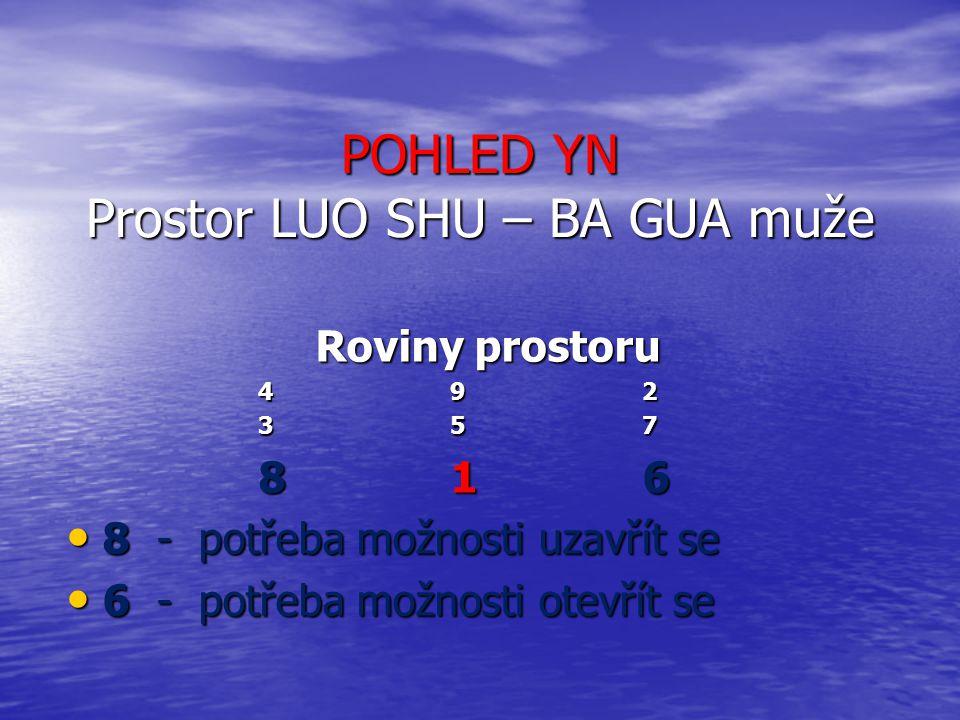 POHLED YN Prostor LUO SHU – BA GUA muže Roviny prostoru 492 357 816 8 - potřeba možnosti uzavřít se 8 - potřeba možnosti uzavřít se 6 - potřeba možnos