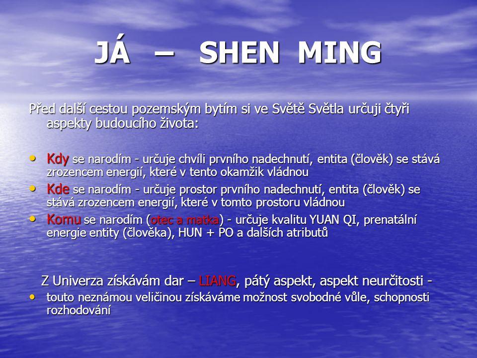 JÁ – SHEN MING Před další cestou pozemským bytím si ve Světě Světla určuji čtyři aspekty budoucího života: Kdy se narodím - určuje chvíli prvního nade