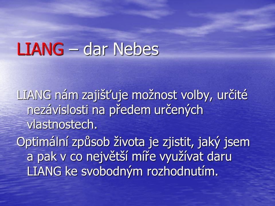 LIANG – dar Nebes LIANG nám zajišťuje možnost volby, určité nezávislosti na předem určených vlastnostech.