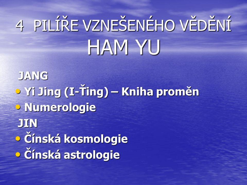 4 PILÍŘE VZNEŠENÉHO VĚDĚNÍ HAM YU JANG JANG Yi Jing (I-Ťing) – Kniha proměn Yi Jing (I-Ťing) – Kniha proměn Numerologie Numerologie JIN JIN Čínská kosmologie Čínská kosmologie Čínská astrologie Čínská astrologie