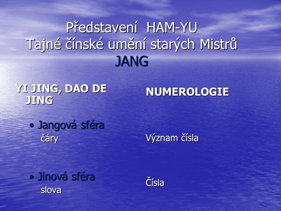 Představení HAM-YU Tajné čínské umění starých Mistrů JANG YI JING, DAO DE JING Jangová sféraJangová sféra čáry čáry Jinová sféraJinová sféra slova slova NUMEROLOGIE Význam čísla Čísla