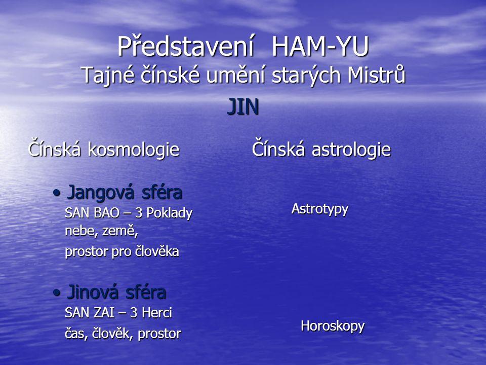Představení HAM-YU Tajné čínské umění starých Mistrů JIN Čínská kosmologie Jangová sféraJangová sféra SAN BAO – 3 Poklady SAN BAO – 3 Poklady nebe, ze