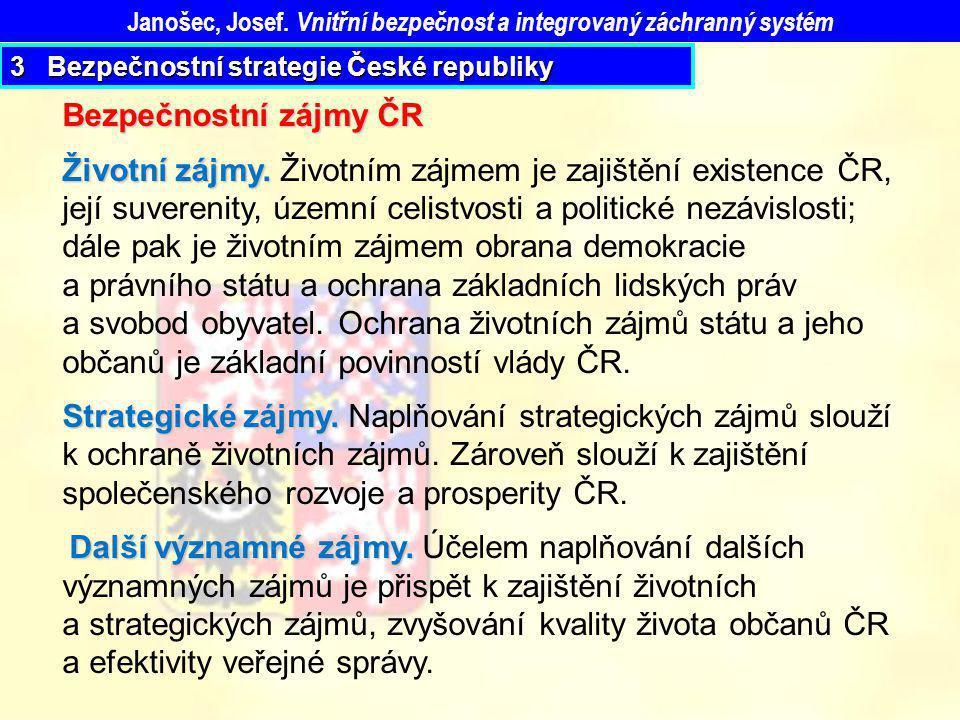 Janošec, Josef. Vnitřní bezpečnost a integrovaný záchranný systém Bezpečnostní zájmy ČR Životní zájmy. Životní zájmy. Životním zájmem je zajištění exi