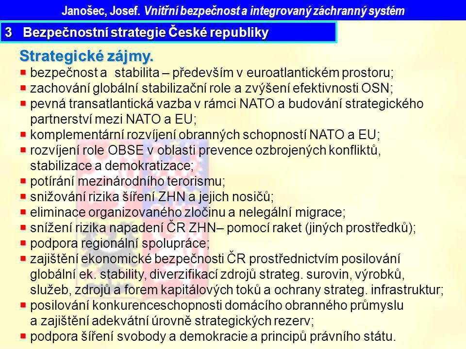 Janošec, Josef. Vnitřní bezpečnost a integrovaný záchranný systém Strategické zájmy.   bezpečnost a stabilita – především v euroatlantickém prostoru