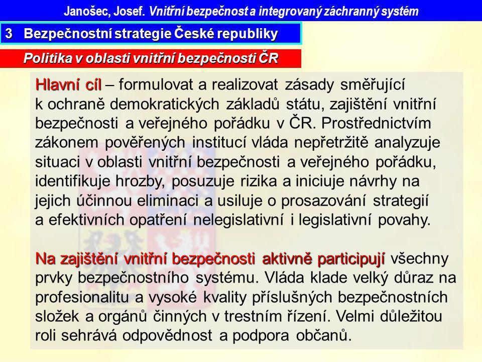 Politika v oblasti vnitřní bezpečnosti ČR Janošec, Josef. Vnitřní bezpečnost a integrovaný záchranný systém 3 Bezpečnostní strategie České republiky H