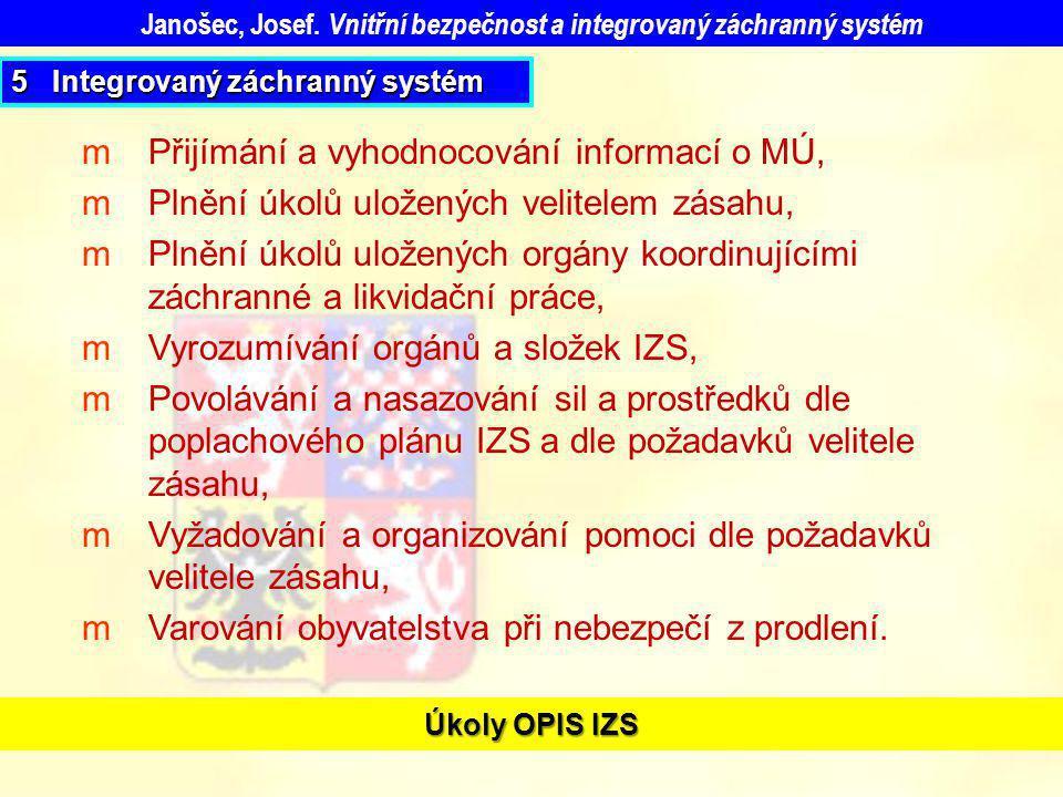 Úkoly OPIS IZS mPřijímání a vyhodnocování informací o MÚ, mPlnění úkolů uložených velitelem zásahu, mPlnění úkolů uložených orgány koordinujícími zách