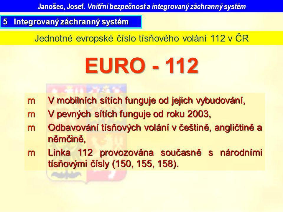 mV mobilních sítích funguje od jejich vybudování, mV pevných sítích funguje od roku 2003, mOdbavování tísňových volání v češtině, angličtině a němčině