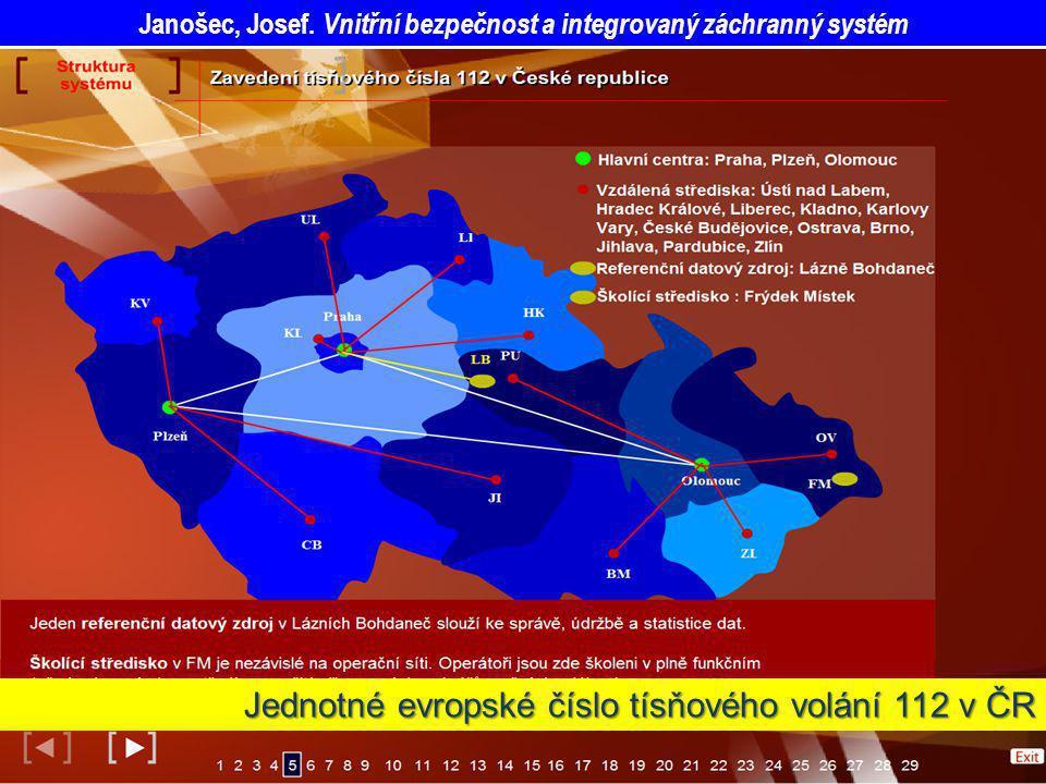 Jednotné evropské číslo tísňového volání 112 v ČR Janošec, Josef. Vnitřní bezpečnost a integrovaný záchranný systém