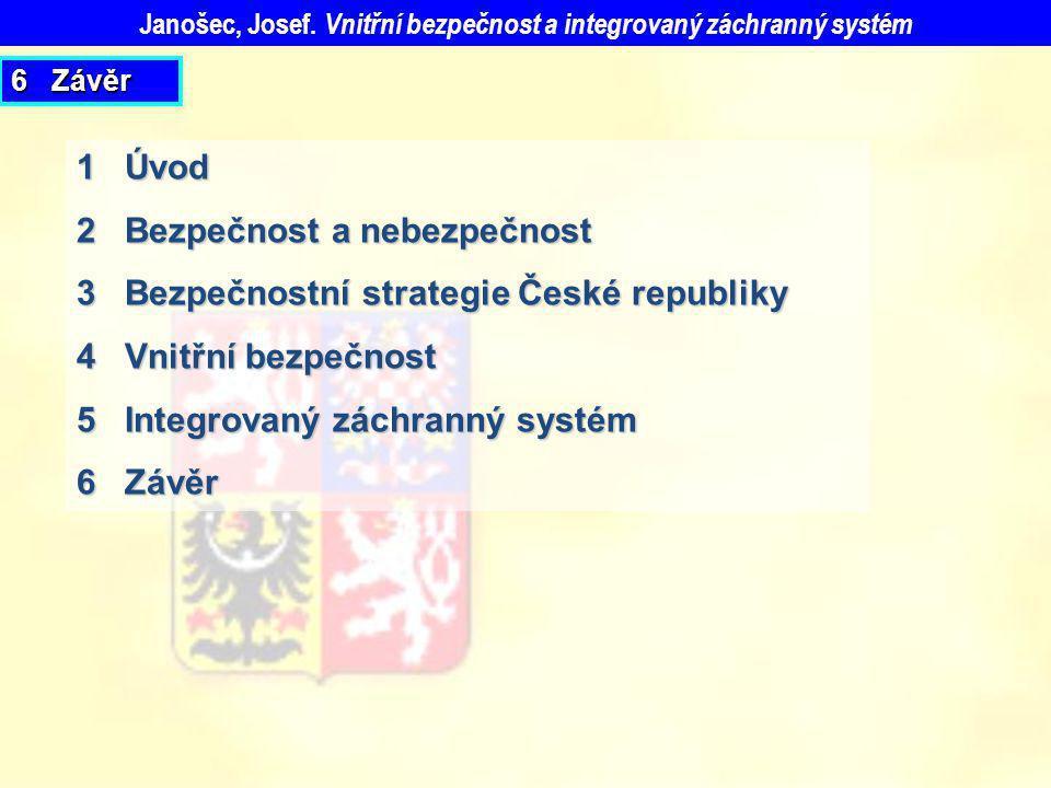 6 Závěr 1 Úvod 2 Bezpečnost a nebezpečnost 3 Bezpečnostní strategie České republiky 4 Vnitřní bezpečnost 5 Integrovaný záchranný systém 6 Závěr