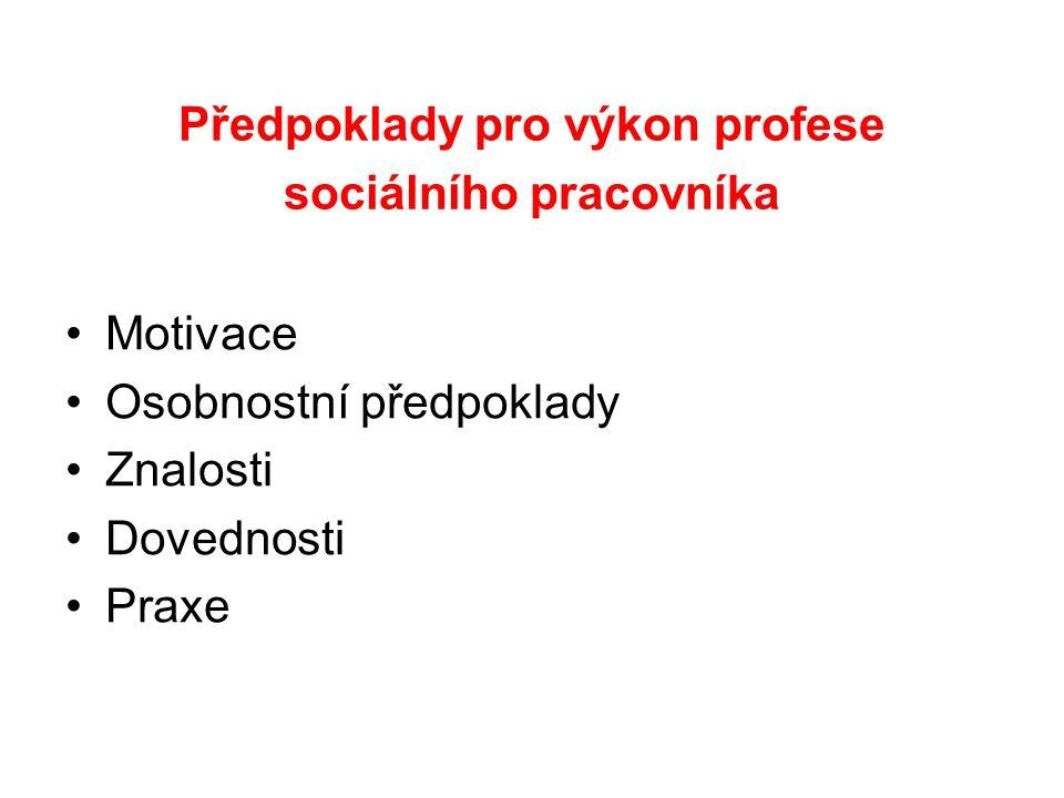 Předpoklady pro výkon profese sociálního pracovníka Motivace Osobnostní předpoklady Znalosti Dovednosti Praxe