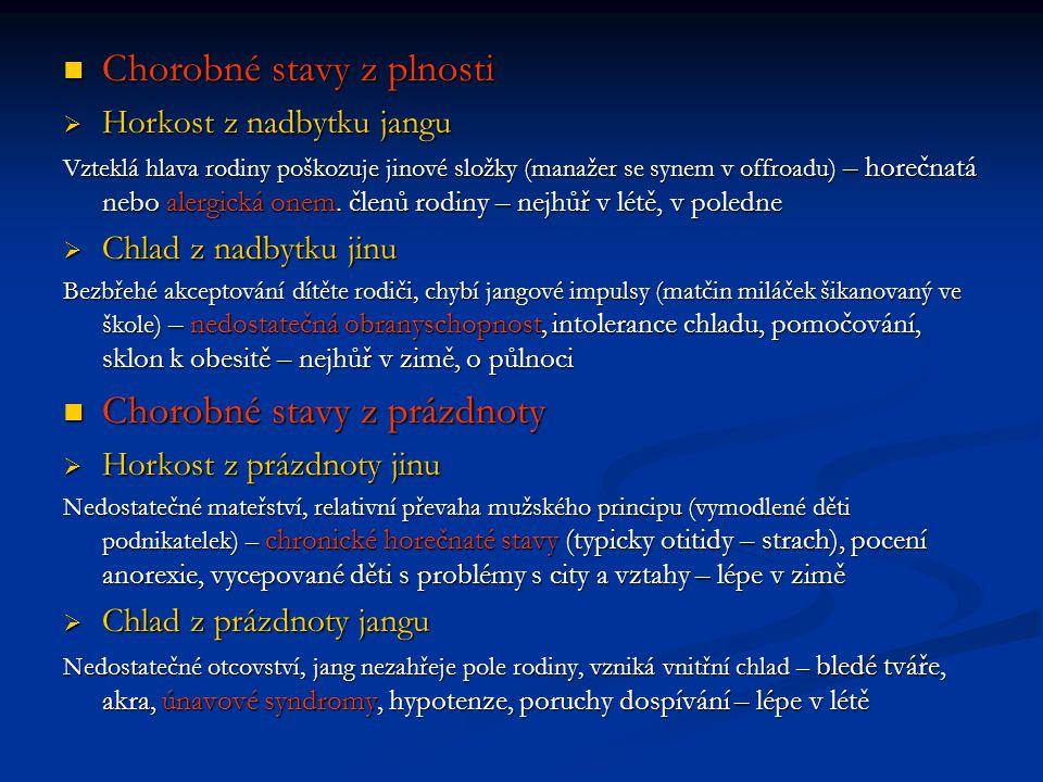 Chorobné stavy z plnosti Chorobné stavy z plnosti  Horkost z nadbytku jangu Vzteklá hlava rodiny poškozuje jinové složky (manažer se synem v offroadu) – horečnatá nebo alergická onem.
