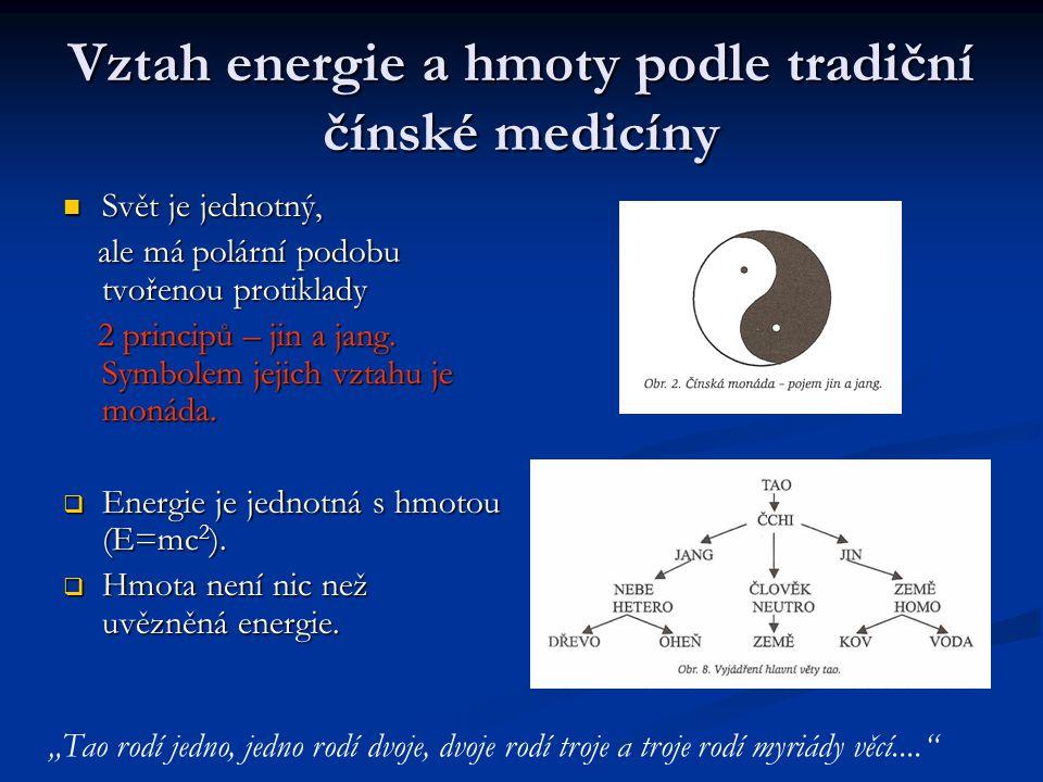 Vztah energie a hmoty podle tradiční čínské medicíny Svět je jednotný, Svět je jednotný, ale má polární podobu tvořenou protiklady ale má polární podobu tvořenou protiklady 2 principů – jin a jang.
