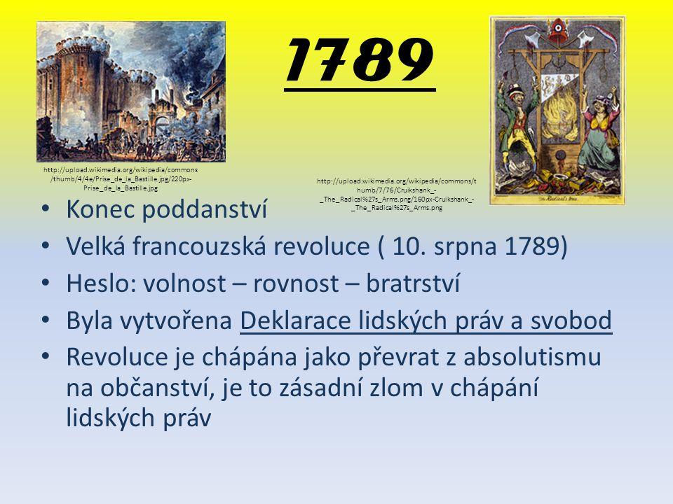 1789 Konec poddanství Velká francouzská revoluce ( 10. srpna 1789) Heslo: volnost – rovnost – bratrství Byla vytvořena Deklarace lidských práv a svobo