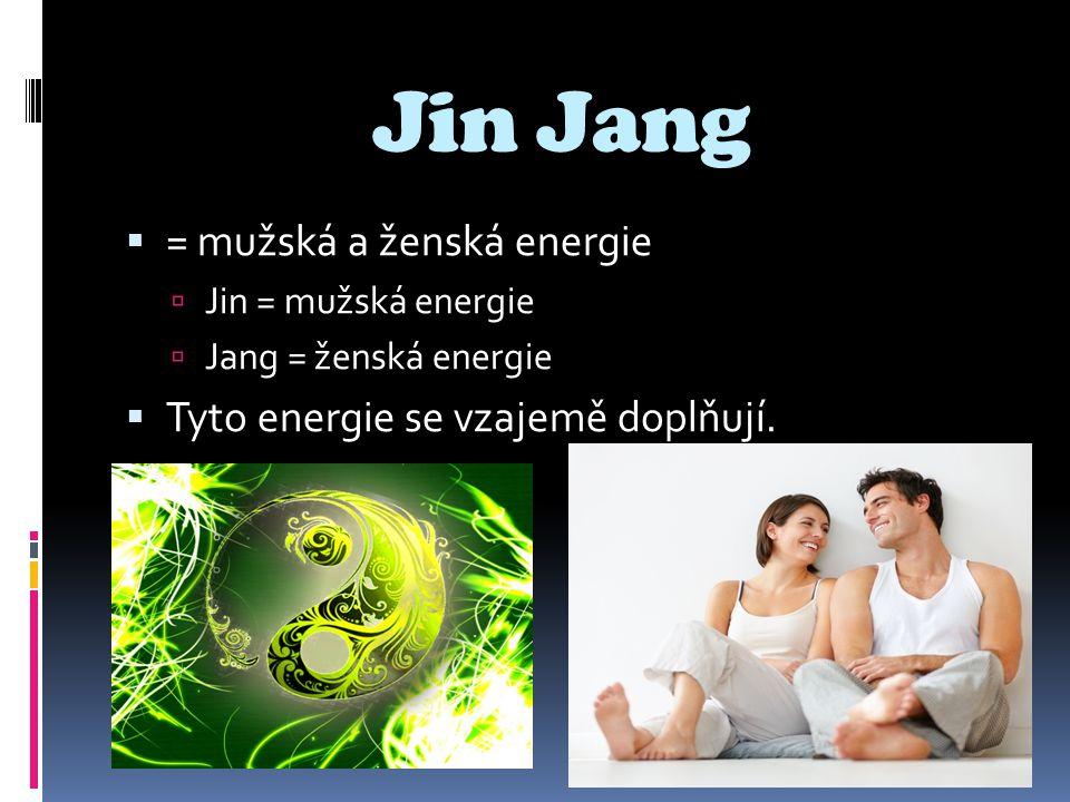 Jin Jang  = mužská a ženská energie  Jin = mužská energie  Jang = ženská energie  Tyto energie se vzajemě doplňují.
