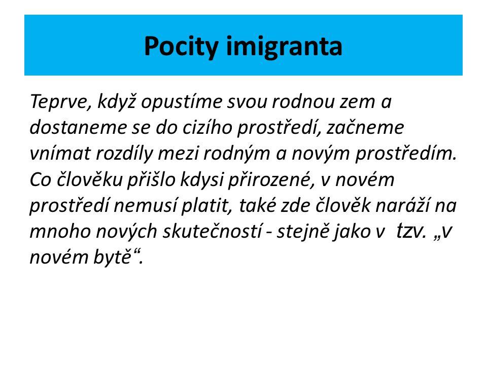Pocity imigranta Teprve, když opustíme svou rodnou zem a dostaneme se do cizího prostředí, začneme vnímat rozdíly mezi rodným a novým prostředím. Co č