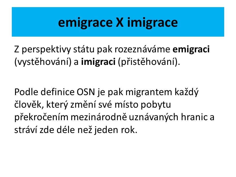 emigrace X imigrace Z perspektivy státu pak rozeznáváme emigraci (vystěhování) a imigraci (přistěhování). Podle definice OSN je pak migrantem každý čl