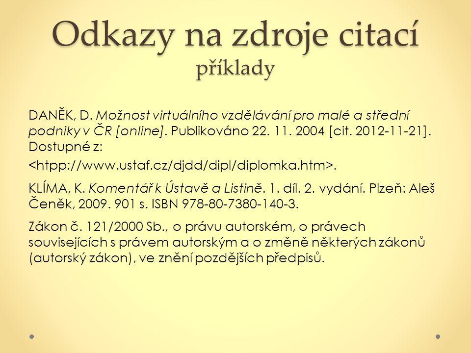 Odkazy na zdroje citací příklady DANĚK, D. Možnost virtuálního vzdělávání pro malé a střední podniky v ČR [online]. Publikováno 22. 11. 2004 [cit. 201