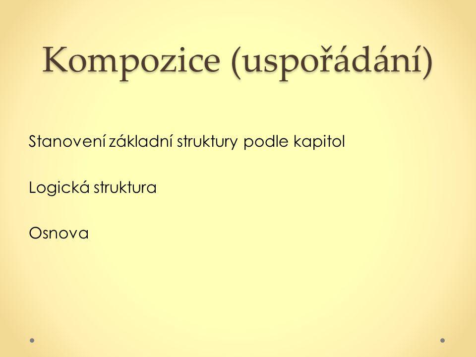 Kompozice (uspořádání) Stanovení základní struktury podle kapitol Logická struktura Osnova