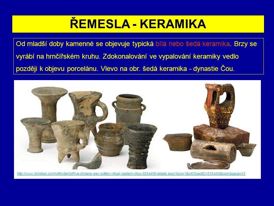 Od mladší doby kamenné se objevuje typická bílá nebo šedá keramika. Brzy se vyrábí na hrnčířském kruhu. Zdokonalování ve vypalování keramiky vedlo poz