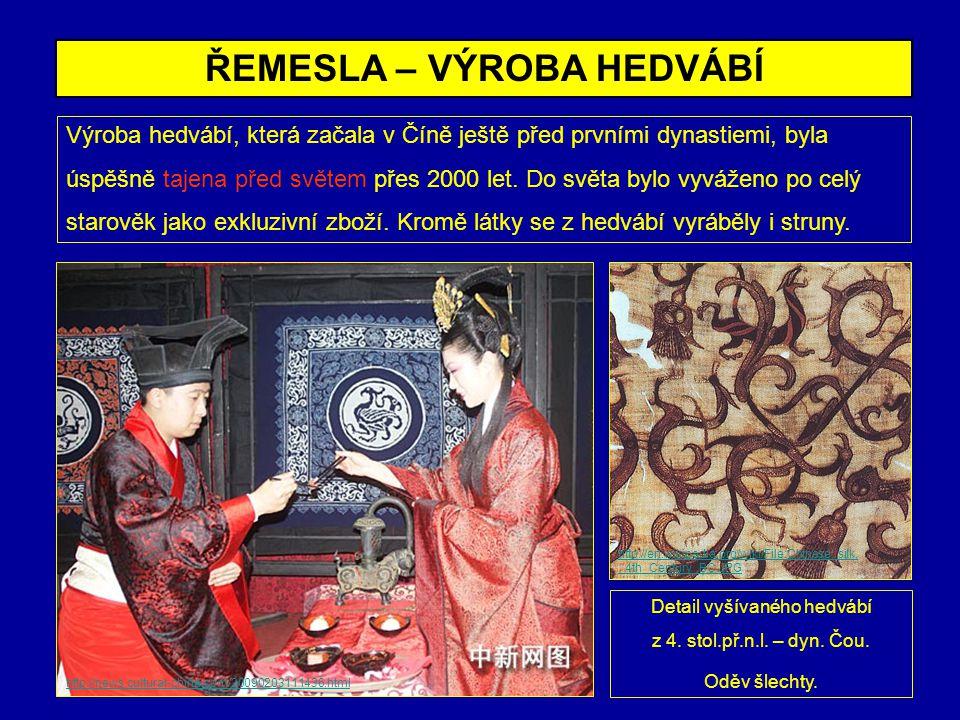 ŘEMESLA – VÝROBA HEDVÁBÍ Výroba hedvábí, která začala v Číně ještě před prvními dynastiemi, byla úspěšně tajena před světem přes 2000 let. Do světa by