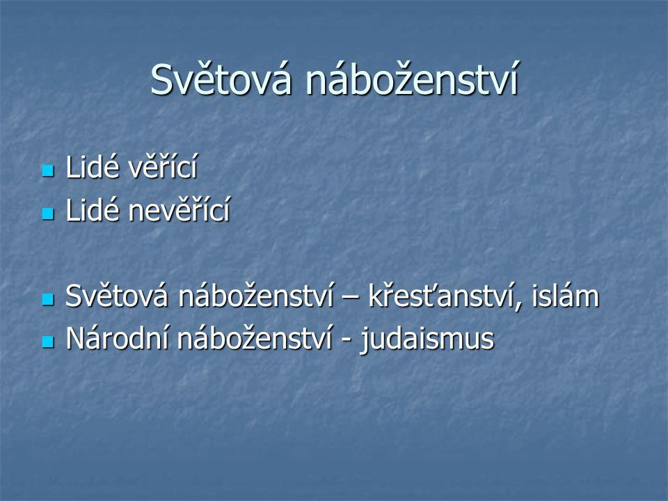 Světová náboženství Lidé věřící Lidé věřící Lidé nevěřící Lidé nevěřící Světová náboženství – křesťanství, islám Světová náboženství – křesťanství, islám Národní náboženství - judaismus Národní náboženství - judaismus