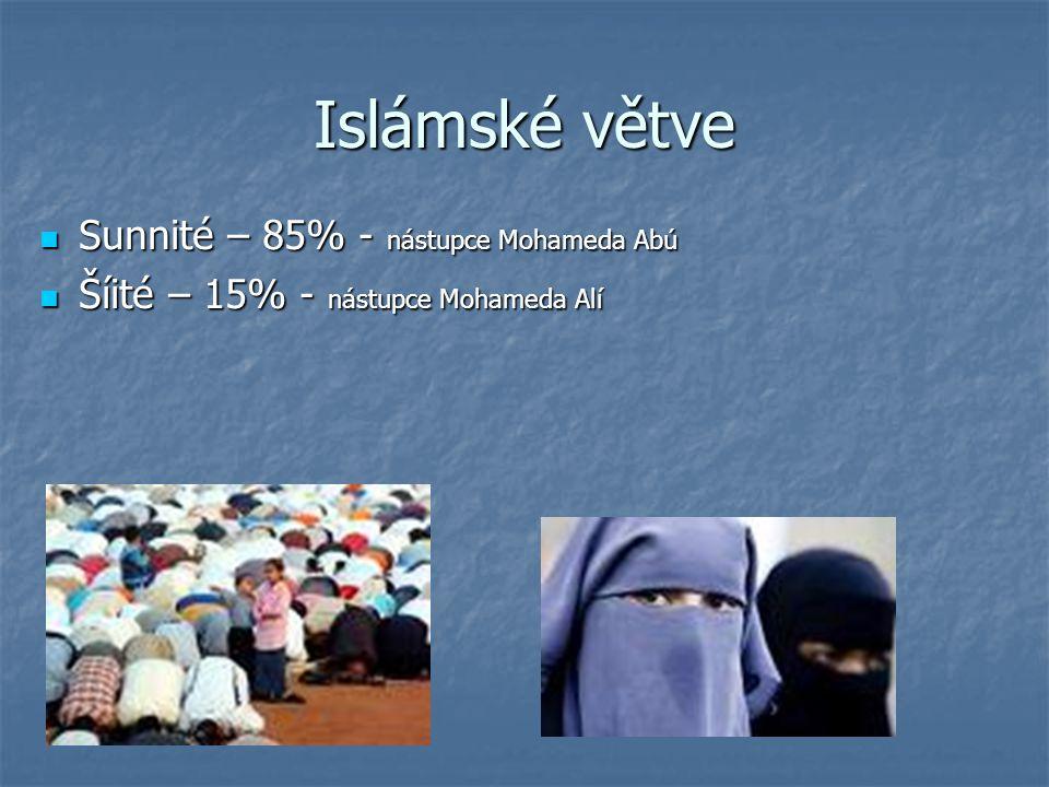 Islámské větve Sunnité – 85% - nástupce Mohameda Abú Sunnité – 85% - nástupce Mohameda Abú Šíité – 15% - nástupce Mohameda Alí Šíité – 15% - nástupce Mohameda Alí