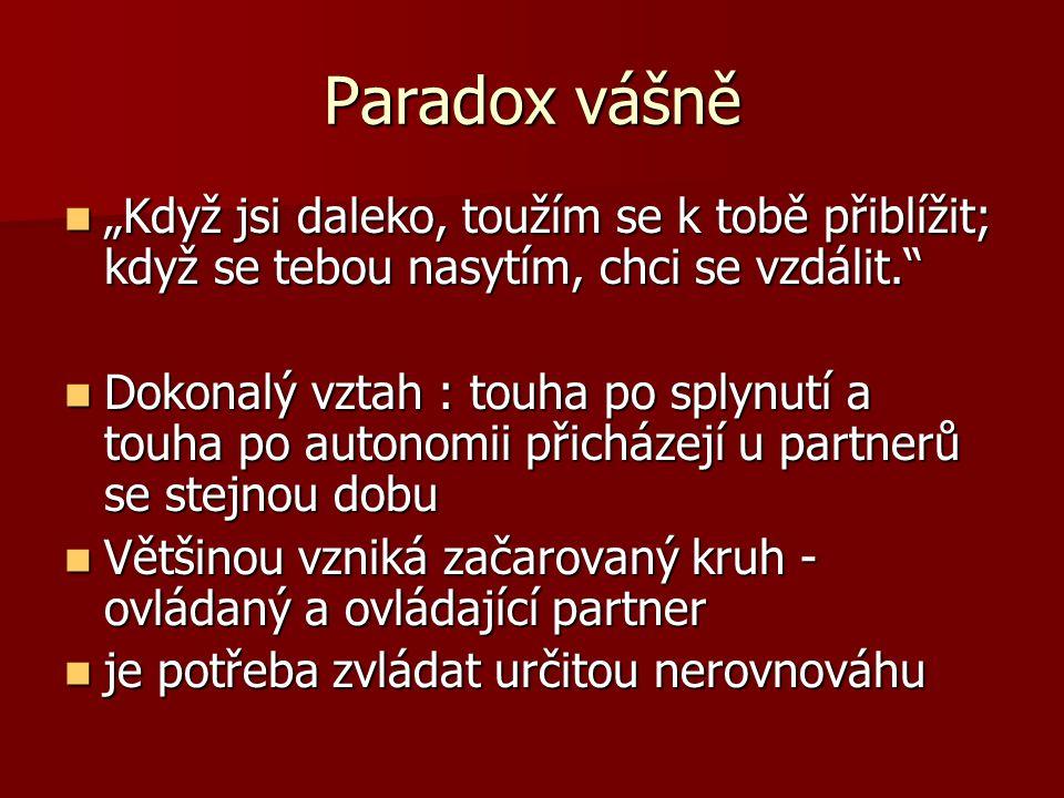 """Paradox vášně """"Když jsi daleko, toužím se k tobě přiblížit; když se tebou nasytím, chci se vzdálit."""" """"Když jsi daleko, toužím se k tobě přiblížit; kdy"""
